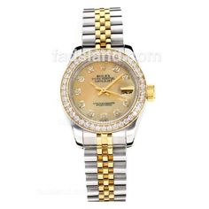 Rolex Datejust Automatic Two Tone Diamond Bezel with Apricot MOP Dial-Same Chassis as ETA Version