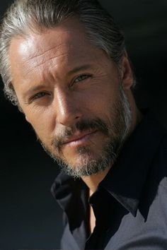 Very handsome, his hair and beard, silver gray grey man salt and pepper