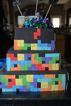 Gameboy Tetris Cake Such A Great Idea Food Glorious Food - Tetris birthday cake