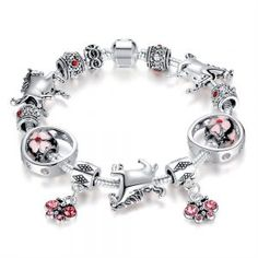 MAXMARTZ ~ Products ~ New Fashion European Bracelet With Crystal Butterfly Charms Pink Cherry Blossom Beads Silver Horse Charms Making DIY Bracelet ~ Shopify Ankle Bracelets, Jewelry Bracelets, Diy Bracelet, Handmade Bracelets, Fashion Beads, Fashion Jewelry, Silver Horse, Gifts For Horse Lovers, My Horse