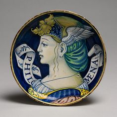 Pair of low-footed bowls with busts of Ruggieri and Filomena, ca. 1520–25 Italy; Urbino or Castel Durante Tin-glazed earthenware (maiolica)