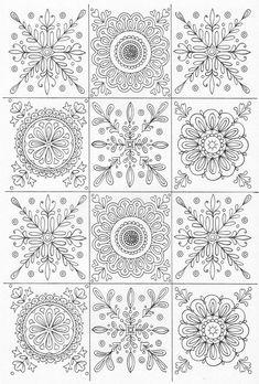 Adult coloring page Doodle Patterns, Zentangle Patterns, Embroidery Patterns, Quilt Patterns, Mandala Coloring Pages, Coloring Book Pages, Coloring Sheets, Scandinavian Folk Art, Mandala Art