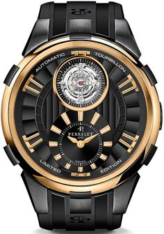 Perrelet Automatic Tourbillon Mens Limited Edition Rose Gold Watch A3035/1 - Wow!