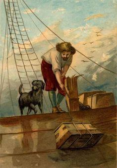 Robinson Crusoe & dog as illustrated by John Dawson Watson. <<< repinned by www.BlickeDeeler.de
