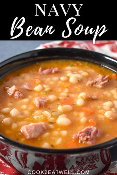 This navy bean soup is made with smoked ham shanks, vegetables and spices. It's a hearty and delicious soup the whole family will enjoy. Navy Bean Recipes, Bean Soup Recipes, Chowder Recipes, Crockpot Recipes, Cooking Recipes, Yankee Bean Soup Recipe, Soup Beans, Ham And Bean Soup, Crock Pot Soup