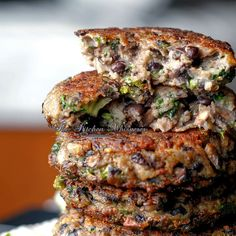 Chunky Portabella Veggie Burgers - The Kitchen Whisperer- made with Portabella mushrooms and black beans, Worcestershire sauce, etc.