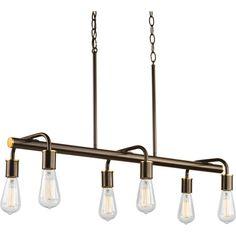"Progress Lighting P4742-20 Antique Bronze Swing Linear Chandelier with 6 Lights - 35"" Long - LightingDirect.com"
