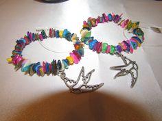 Rainbow Shell w/Bird Charm Bracelet