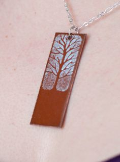 Enameled Copper Pendant   Brown Rectangular by AflameCreations, $35.00