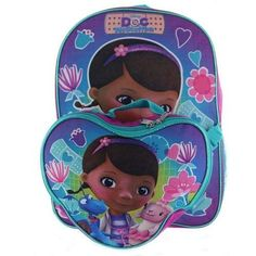 Doc McStuffins Backpack Lunch Box Set Back To School Travel Books Pink Purple #Disney