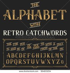 Retro alphabet vector font with catchwords. Ornate letters and catchwords the, for, a, from, with, by etc. Stock vector typography for labels, headlines, posters etc.
