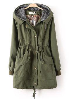 20bca1797db50 Army Green Zipper Drawstring Pockets Cotton Trench Coat Moda Suéter