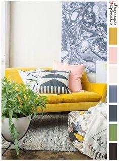 mustard yellow and pink interior design color palette, pantone spicy mustard, light peach, dark navy blue, green house plant #homeinteriordesigncozy