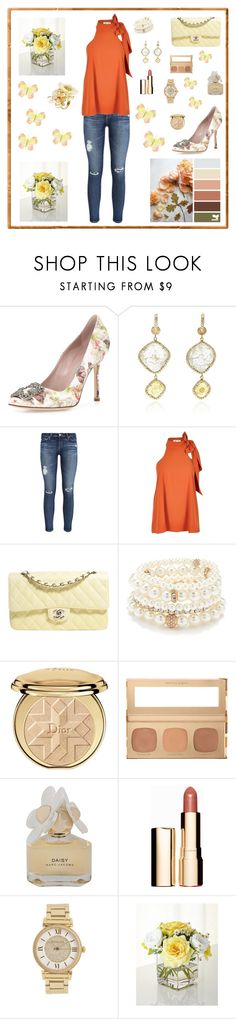 """""""Untitled #224"""" by maurogianni-za ❤ liked on Polyvore featuring Manolo Blahnik, NSR Nina Runsdorf, AG Adriano Goldschmied, River Island, Chanel, Forever 21, Christian Dior, Bare Escentuals, Marc by Marc Jacobs and Clarins"""