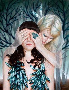 Hide & Seek by Edith Lebeau  9 x 12  acrylic on wood