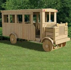 Amish Made Solid Wood Child's Playset Off-We-Go-To-School Bus