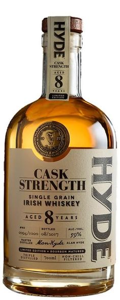 Web Exclusive, Hyde 8 Year Old Cask Strength Irish Whiskey for at Fairley's Wines The Hyde Cask Strength 8 Year Old is a limited edition, triple distilled single grain Irish whiskey, matured in natural Bourbon barrel. Whiskey Meme, Whiskey Girl, Scotch Whiskey, Bourbon Whiskey, Bourbon Drinks, Whiskey Cocktails, Liquor Drinks, Whiskey Decanter, Whiskey Bottle