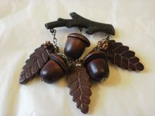 Vintage Wood and Celluloid Acorn and Leaves Brooch