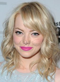 Emma Stone Unique Pretty Medium Shoulder Length Wavy Blonde Full Lace Wig 100% Human Hair 14 Inches