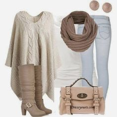 Casual cold weather beige anywhere outfit Cute Fashion, Look Fashion, Fashion Outfits, Womens Fashion, Fashion Trends, Fall Fashion, Ladies Fashion, Fasion, Fashion Shoes