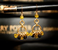 Hogwarts Collection - Hufflepuff - Brass Bead Hoop Earrings  by HowlOwl on Etsy. Harry Potter