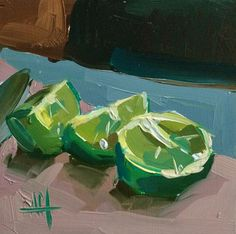 Lime Wedges no. 3 Original Still Life Oil Painting by Angela Moulton pre-order