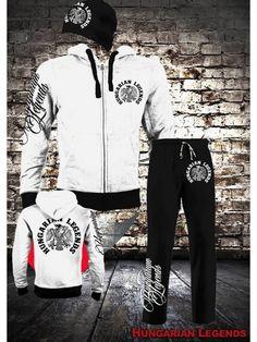 Rakamazi Turul - fehér cipzáras vastag pulóver, fekete melegítő alsó és sapka szett Athletic, Jackets, Products, Fashion, Down Jackets, Moda, Athlete, Fashion Styles, Deporte