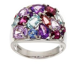 4.50 ct tw Multi-Gemstone Sterling Band Ring