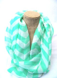 Girl's Mint and White Chevron Infinity Scarf