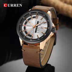CURREN 8307 Calendar Unique Design Genuine Leather Men Watch Sport Watches, Watches For Men, Quartz Watch, Leather Men, Bracelet Watch, Men Casual, Luxury, Calendar, Men Watch