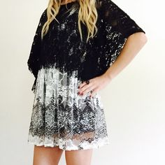 Black + White Lace Dress with Overpiece Sheer black and white lace dress (or long top). Stretchy spandex upper. Paired with black lace cropped top with dolman sleeves and  trapeze shape. Both pieces sold together. Daytrip Dresses Mini