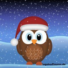 Eule mit Weihnachtsmann-Mütze mit Moho 12 gezeichnet (früher Anime Studio). Anleitung zum nachzeichnen im Blog-Post! Poster, Studio, Blog, Anime, Fictional Characters, Art, Santa Clause, Owls, Figurine