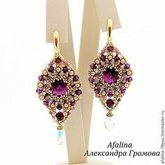 """Серьги """"Признание в любви 2 """" - фиолетовый,золотой,серьги,серьги с кристаллами"""
