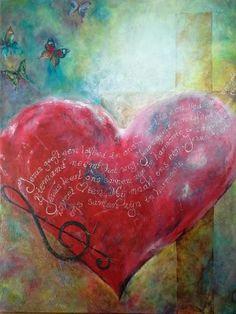 —VERKOCHT— acryl op doek gemengde techniek 70 bij 90 -Jezus geeft een loflied in ons hart- Jezus is de sleutel, door Hem mogen we tot de Vader gaan en vrij worden als een vlinder….
