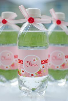 Strawberry Picnic Birthday Party Water Bottle Labels