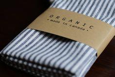Set of 2 Organic Cotton & Hemp Blend Eco-friendly Kitchen Towels / Hand towels - Navy Stripe