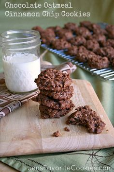 Chocolate Oatmeal Cinnamon Chip Cookies from Jen's Favorite Cookies  maybe try wit caramel chips