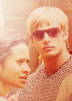 Bradley James on the set of Merlin