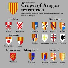 Crown of Aragon Territories. All territories which at some point were part from the Crown of Aragon. - A Crown is a group of kingdoms and/or territories with the same monarch, but maintaining each territory its own institutions, culture, laws, etc. Historical Maps, Historical Pictures, Native American Map, Spain History, Map Symbols, Family Origin, European Map, Adventure Map, French History