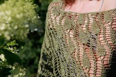 Hand Knit Olive Green Shawl