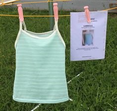 The Girls camisole already washed and on the line! Sizes years, pretty feminine touch to her wardrobe. An e-pattern by SewNZ. Sewing Patterns For Kids, Sewing For Kids, Double Knitting, 10 Years, Camisole, Athletic Tank Tops, Feminine, Touch, Pretty