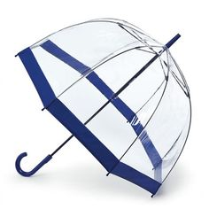 This Fulton Birdcage is a clear blue umbrella - a navy blue edge and matching blue curved handle, one of our windproof clear dome Fulton birdcage umbrellas. Birdcage Umbrella, Umbrella Wedding, Clear Dome Umbrella, Blue Umbrella, Cute Umbrellas, Paper Umbrellas, Fulton Umbrella, See Through Umbrella, Polka Dot Rain Boots
