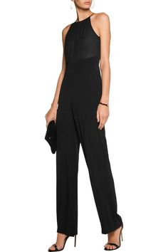e578d11e446e L AGENCE Regina silk chiffon-paneled crepe jumpsuit Designer Clothes Sale