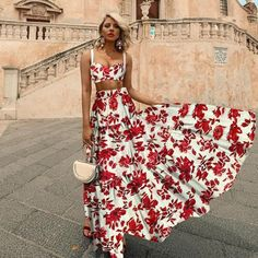 Sheinstreet Fashion stylish Sexy Midriff Baring Off Shoulder Floral Printed Maxi Dress Bohemian Summer Dresses, Summer Dresses For Women, Spring Dresses, Summer Outfits, Modest Outfits, Skirt Outfits, Maxi Dress With Sleeves, The Dress, Lace Skirt