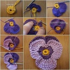 DIY Crochet Violet Flower Free Pattern Detailed Tutorial, English Pattern available, crochet pansy flower for fashion, accessory and home. How to Crochet Violet Flower Pattern (detailed tutorial) -. (Mingky Tinky Tiger + the Biddle Diddle Dee) Crochet Vio Crochet Flower Tutorial, Crochet Flower Patterns, Crochet Motif, Crochet Flowers, Crochet Stitches, Knitting Patterns, Pattern Flower, Free Knitting, Crochet Stars