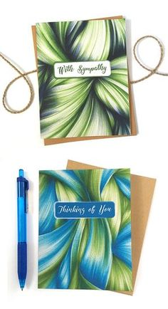 Send your sympathy or well wishes with elegance and grace. The abstract ballpoint pen drawings are sure to bring a little comfort to someone going through a rough time. Click through to see the whole line of cards.