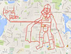 Stephen Lund cycles about 70km every day, creating clever doodles using a GPS app that maps his progress. The BC, Canada native began his unusual craft in 2015 to unwind and be creative; since then, he's logged 22,300km, and his longest piece has been a 220km mermaid. Darth Vader (46.3 km, 2h 17 min)