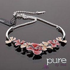 Luxus Statement Kette Noa Paris Halskette Emaille Versilbert Collier Blume