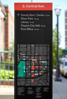 Kiku Obata & Company is a London and St. Louis based design consultancy specializing in identity, editorial and environmental design. Bus Stop Sign, Guide System, Wayfinding Signs, Map Artwork, Exterior Signage, Environmental Graphic Design, Signage Design, Street Signs, Urban Landscape