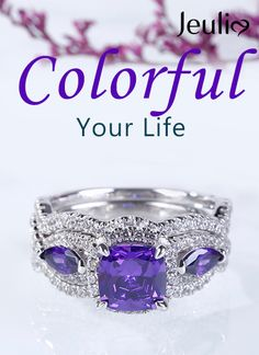 Jeulia offers premium quality jewelry at affordable price, shop now! Cushion Ring, Cushion Cut, Purple Cushions, Stone Wrapping, Italian Jewelry, Anniversary Rings, Diamond Rings, Halo, Amethyst